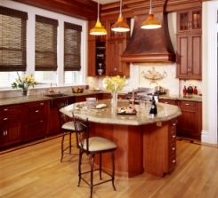 Generous kitchen space & island; doorway leads to traditional